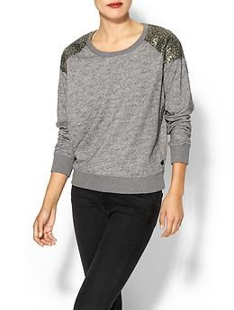 Maison Scotch Sweatshirt With Sequin Shoulders | Piperlime
