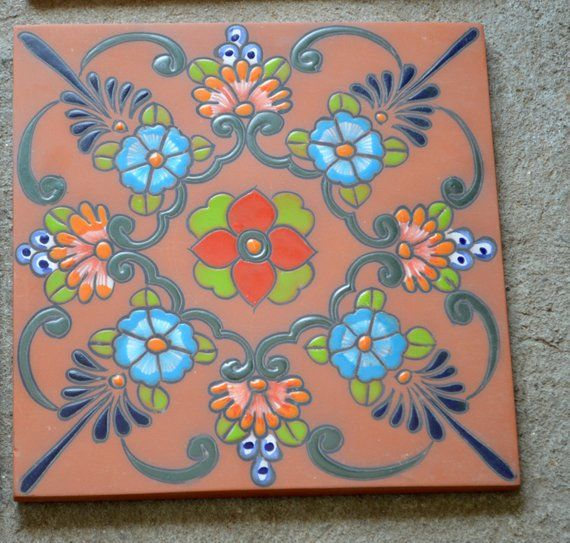 This Is For 1 High Relief Mexican Floor Tile 12 X 12 And 1 2 Thick These Have Intricate Hand Painted Details In High Talavera Pottery Hand Painted High Relief