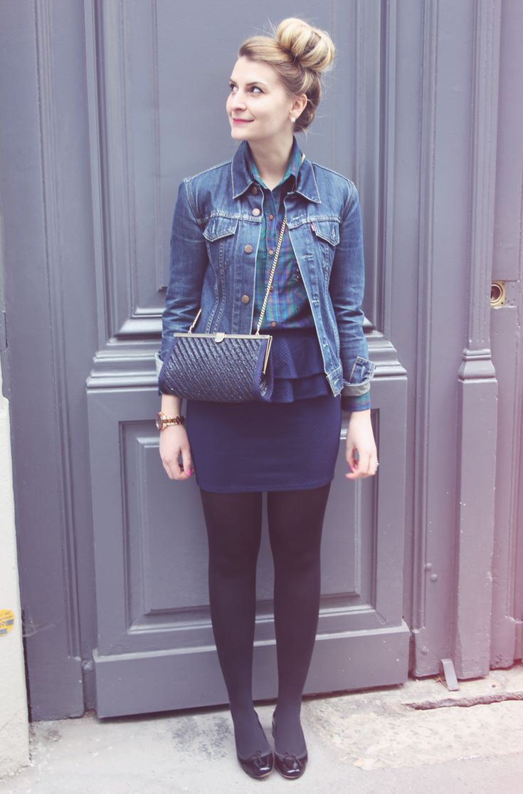 style jean skirts and black tights on