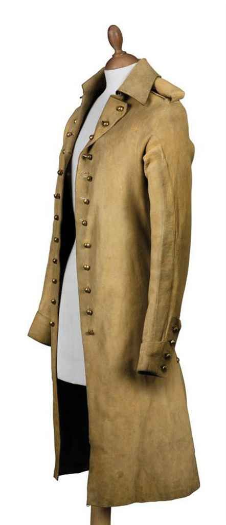 'Buff' coat, ca. 1800. Leather, with gilt-buttoned lapels and deep collar.