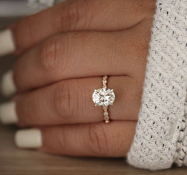 2.00cts Forever Classic Moissanite Oval Engagement Ring, Oval 9x7mm Moissanite a…