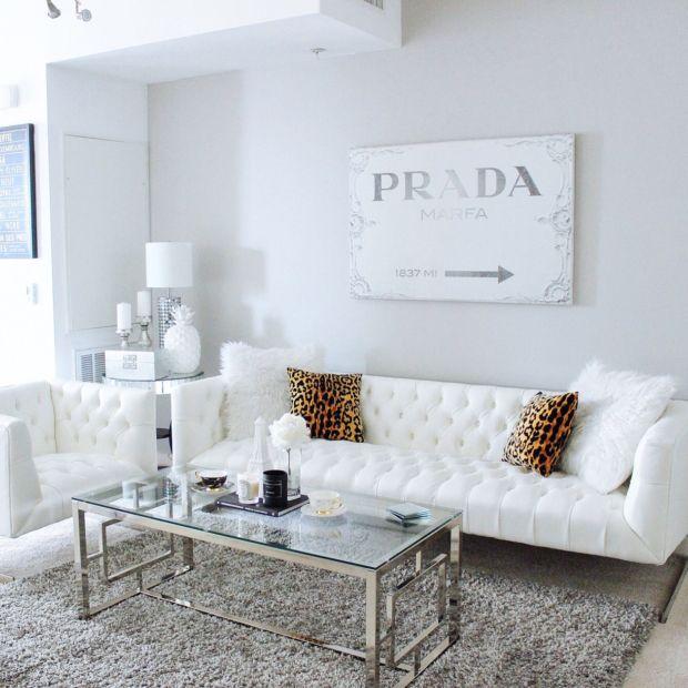 Gray U0026 White Living Room Decor With White Tufted Sofa