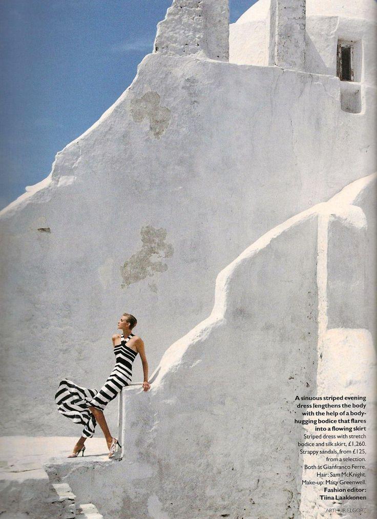 Nadja Auermann by Arthur Elgort Vogue UK August 1996