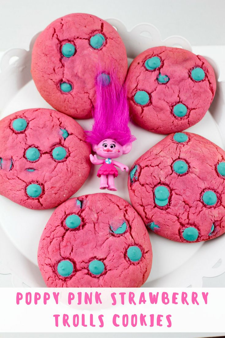 Poppy Pink Strawberry Trolls Cookies