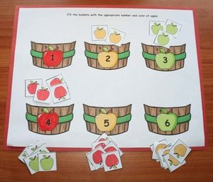 "Apple activities: ""Bobbing For Apples"" game for numbers 1-20, which provides great practice for those ""toughie teen"" numbers."