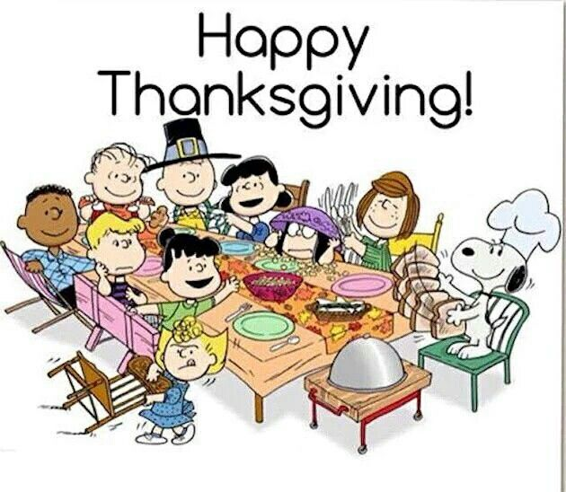 Charlie Brown and Gang wishing you a Happy Thanksgiving.