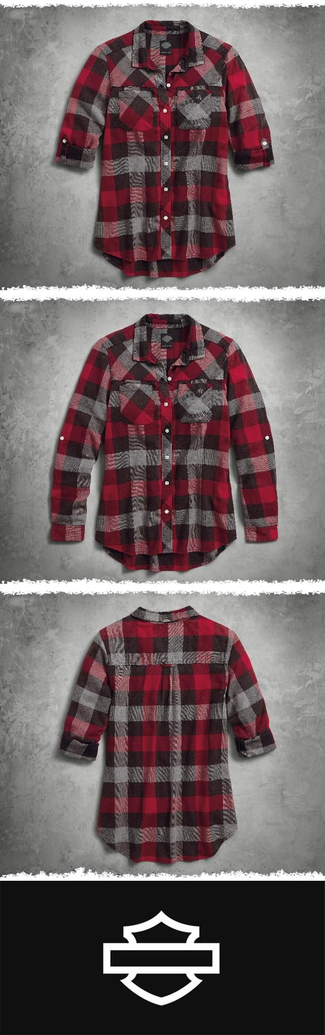 When your man reclaims the flannel shirt you stole, this one will be standing by. | Harley-Davidson #HDBlackLabel Women's Roll-Tab Sleeve Plaid Slim Fit Shirt