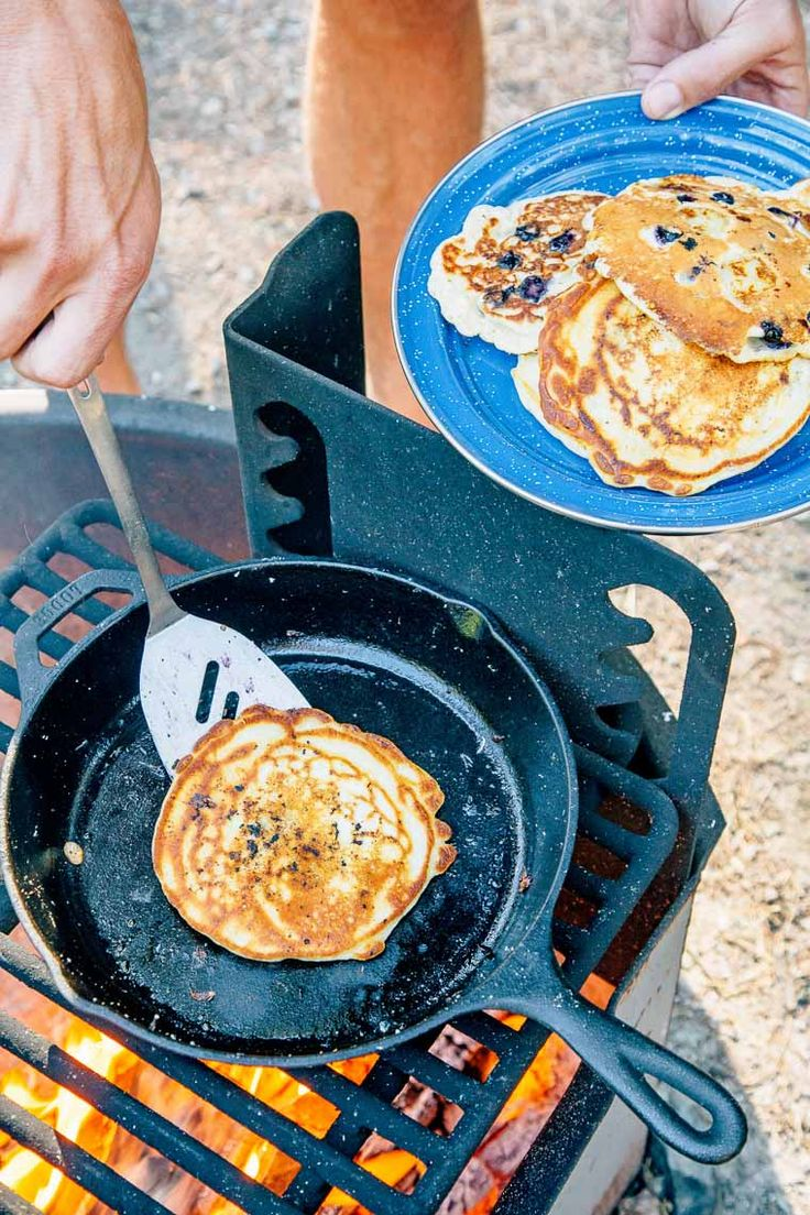 Caramelized bananas and bright blueberries transform a camping breakfast classic.