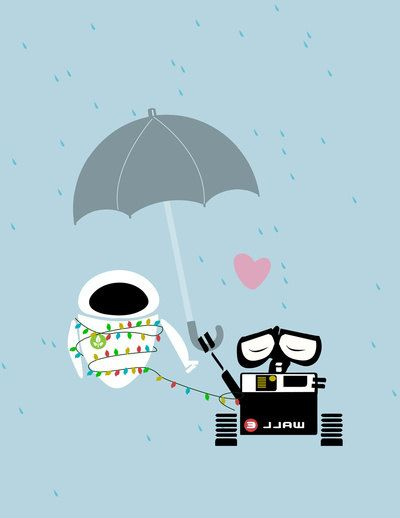 walle holding an umbrella for eve.. digital by studiomarshallarts