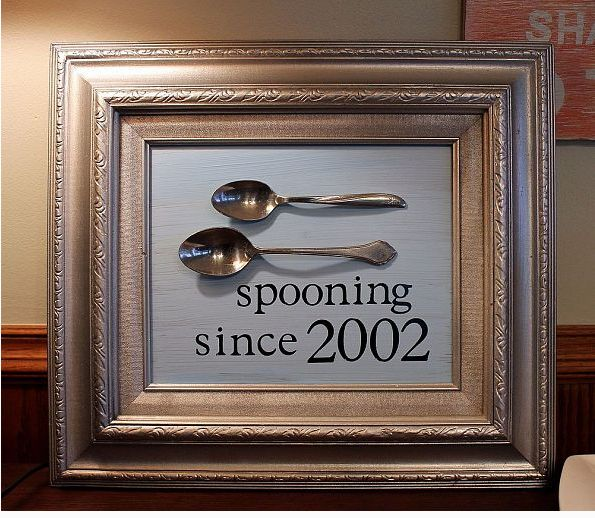 A couple spoons and a frame are all you need to make your life partner laugh on your anniversary.