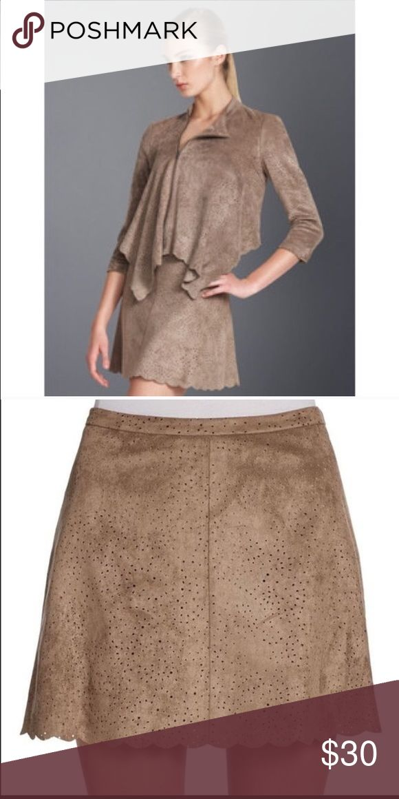 """BCBGMaxAzria skirt Taupe suede skirt with scalloped trim on bottom. Has hidden zipper on the side and elastic on the back. Waist: 13.75"""" length:14.5"""" BCBGMaxAzria Skirts Mini"""