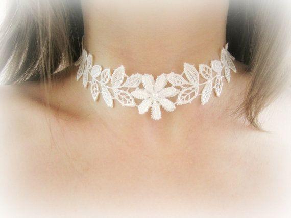 Lace choker necklace floral lace choker white lace choker