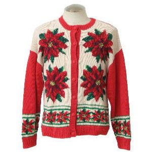 Womens Ugly Christmas Sweater: -Westbound- Womens white background cotton ramie blend button front longsleeve ugly Christmas sweater, round neckline with reds, greens, and golds knitted in poinsettias on front. Lower band of poinsettias continues on back.