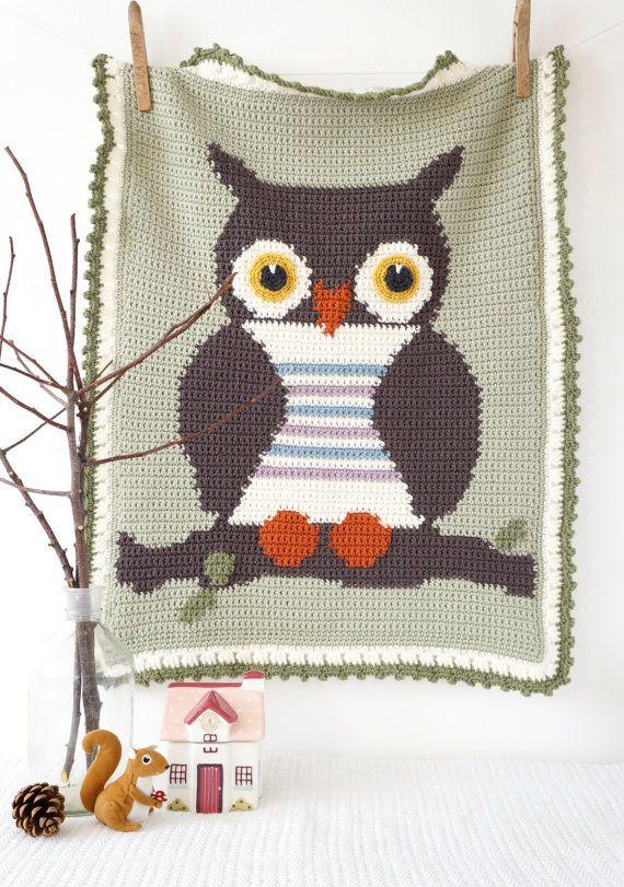 Baby Graphghan Crochet Pattern Owl Blanket door LittleDoolally