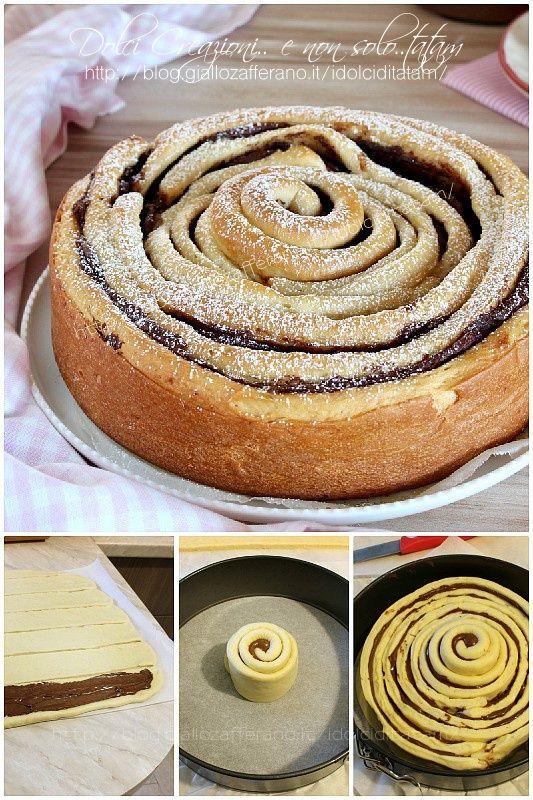 TORTA A SPIRALE DI PAN BRIOCHE ALLA NUTELLA - ricetta fotografata