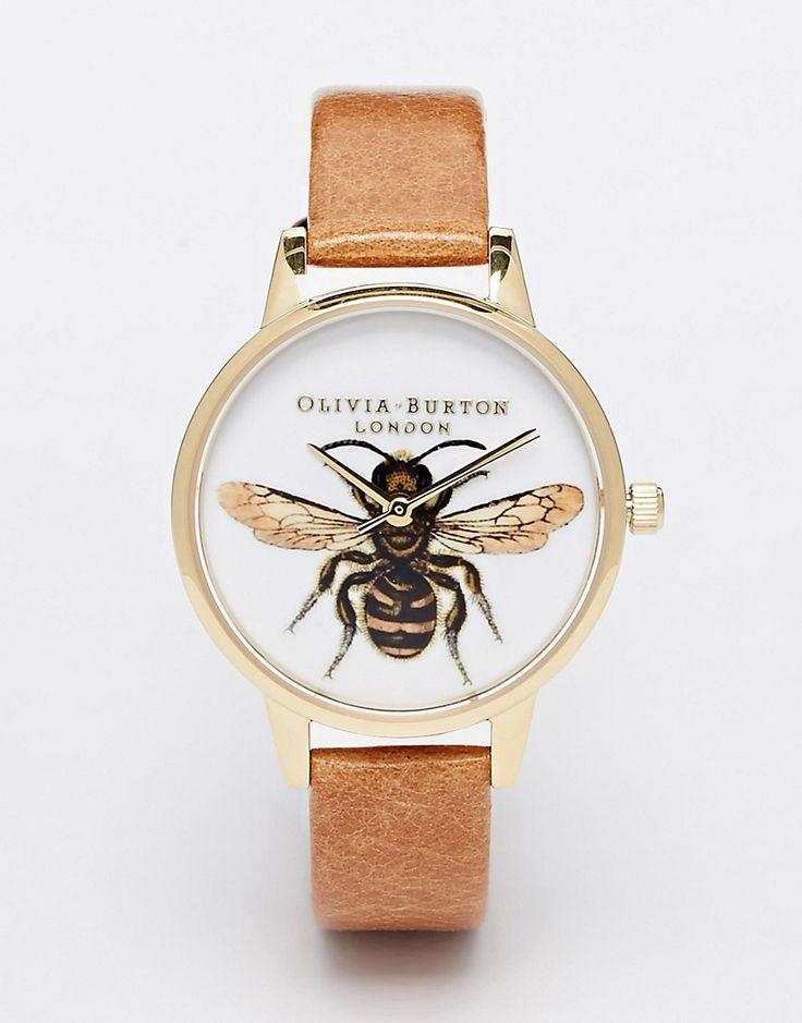 Bild 1 von Olivia Burton – Bee – Mittelgroße Uhr mit hellbraunem LederbandWatch