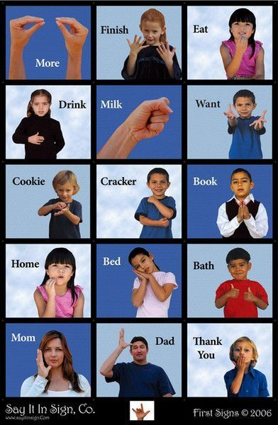This is an ASL (American Sign Language) poster made with lenticular graphics. When you walk pass the poster or look at it and lean left to right the images chan
