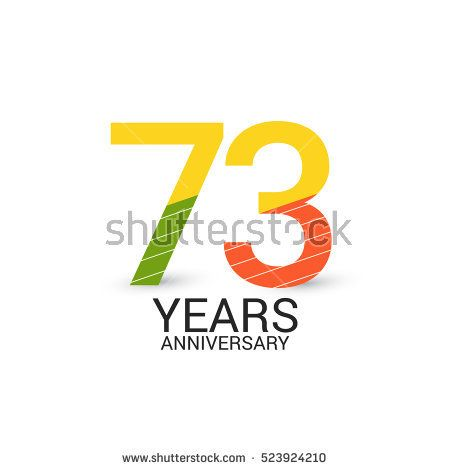 73 Years Anniversary Colorful and Simple Design Style. Logo Celebration Isolated on White Background