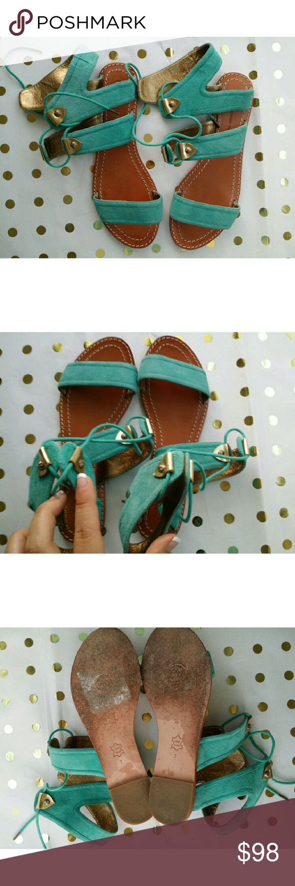 Happy Sale !! Cynthia Vincent Teal Flat Super Great Condition!  Sueded, no appliqu?s, solid colour, laces, round toeline, leather sole, flat, leather lining. Soft Leather. Cynthia Vincent Shoes Sandals