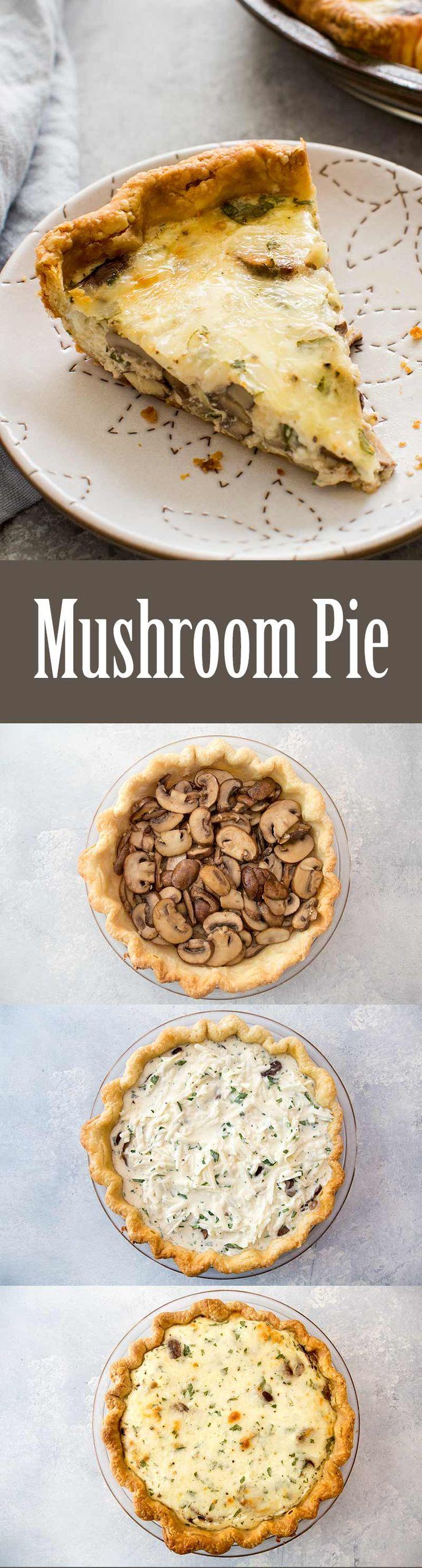 Mushroom Pie ~ Mushroom pie with fresh mushrooms, Monterey Jack cheese, sour cream, eggs, parsley, garlic, and cream. ~ SimplyRecipes.com