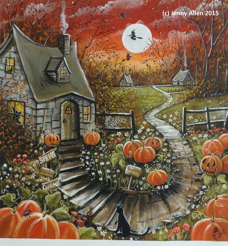 OOAK Original Painting Acrylic on Canvas, Halloween, Witch, Wicca, Fall Folk art