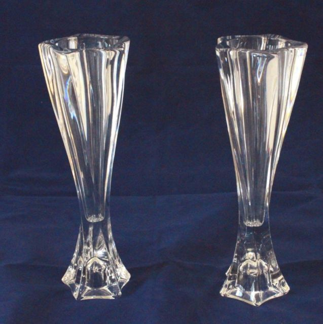 "NIB Set of 2 NEW Mikasa Pacific Wave 8"" Candleholders Lead Crystal Home Decor"