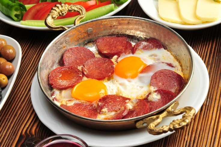 Turkish 'sucuk' and eggs for breakfast #breakfast #food #idea