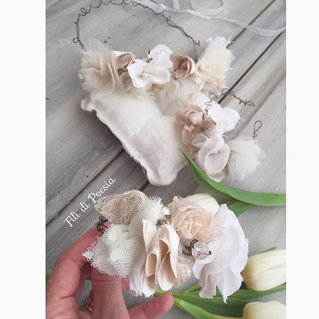Wedding flower crown and bracelet Fil de fer and fabrics