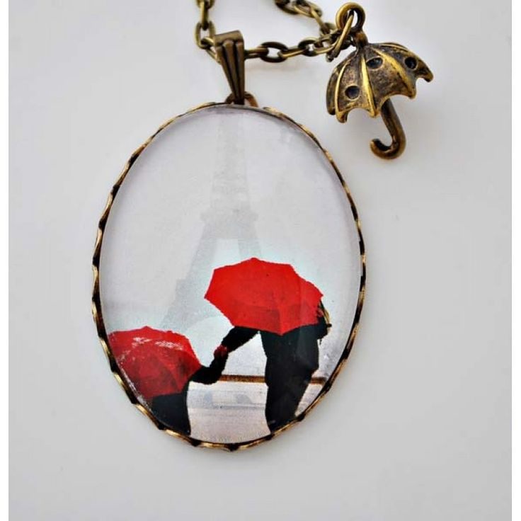 YAĞMURDA PARİS Vintage Kolye http://ladymirage.com.tr/kolyeler.html/yagmurda-paris-vintage-kolye-12119046.html?limit=100 #paris #vintage #kolye #bronz #takı #tasarım #elyapımı #kırmızı #şemsiye #yamur