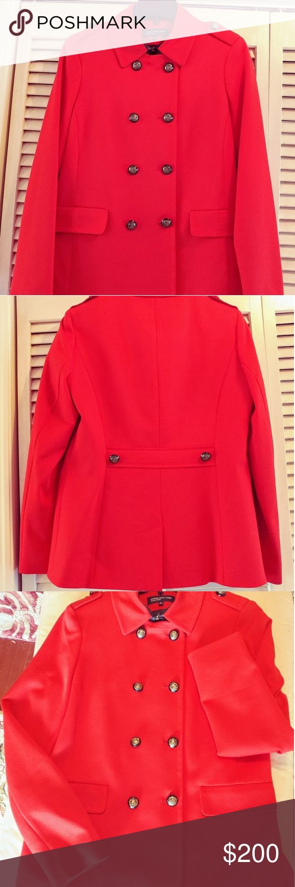 Jones New York Signature, Red, Pea Coat, Small New, Never Worn, red, double breasted, classic  pea coat from Jones New York Signature Collection line. Faux black leather under collar with gold clasp closure. Belted back, kick pleat, two front faux pockets, faux buttoned shoulder epaulets, fully lined. Size Small. This is not a heavy coat, Fall/early Winter & Spring wear. Purchased at Jones New York but was transferred South before the winter. Jones New York Jackets & Coats Pea Coats