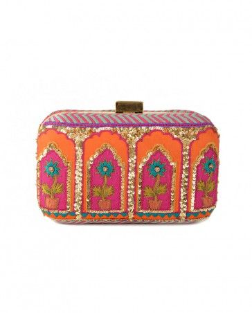 Fuchsia and Orange Box Clutch with Sequins