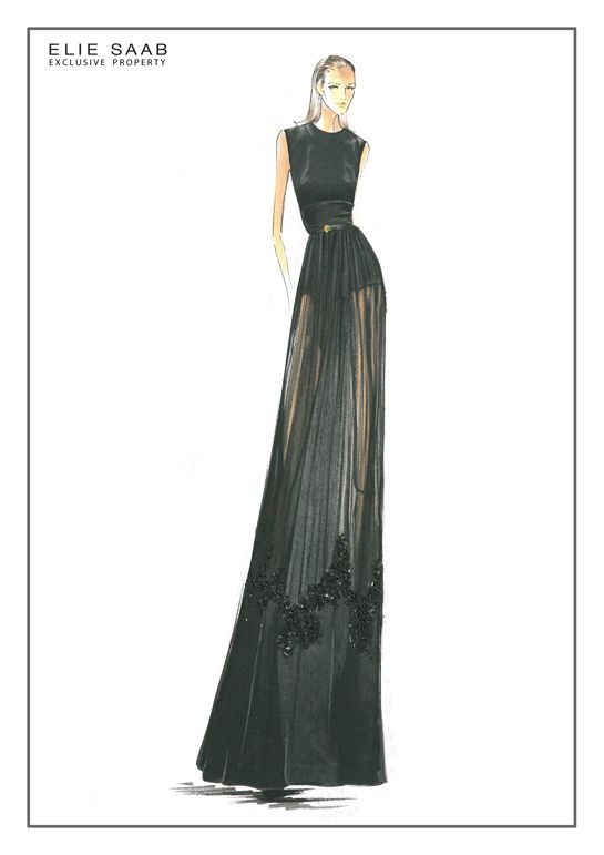Fashion illustration - fashion design sketch for Elie Saab