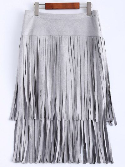 High Waisted Faux Suede Tassels Skirt | Psychedelic Monk