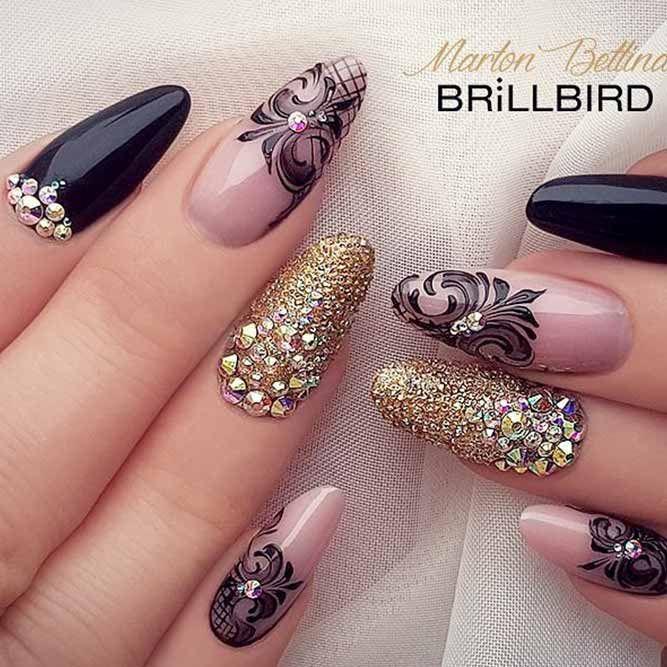 acrylic-nail-designs-long-almond-black-gold-glitter ...