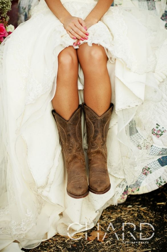 Cowboy boots with wedding dress
