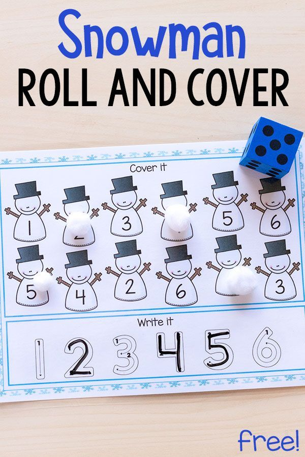 These snowman roll and cover mats make learning number sense and letter sounds fun and engaging for kids. These are perfect for winter centers or homeschool! #winter #winteractivitiesforkids #math #centers