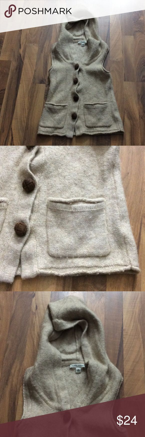 Banana Republic Size XS Wool Cashmere Vest Top This top is up for sale! Good condition! Cute!  ❤ Mix of beiges, warm fuzzy feel ❤ Hooded vest, button up ❤ 50% Lambs Wool, 35% wool, 10% Nylon, 5% cashmere ❤ Size Measured in Pictures ✅ Bundle up and save ✅ Banana Republic Tops Button Down Shirts