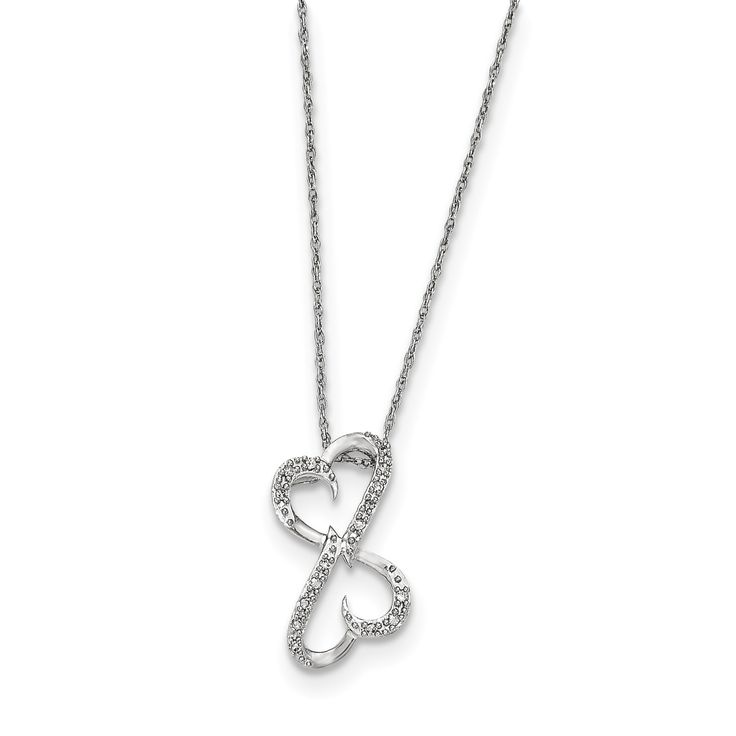 14k White Gold Diamond Heart Necklace Y12778AA