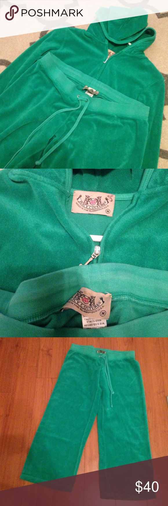 Juicy Couture velor tracksuit Juicy couture in a size medium. Green tracksuit is in great condition and super comfortable. The pants are capri length, they do not touch the ground. Juicy Couture Jackets & Coats