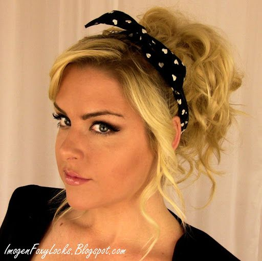 how to style hair with headband 50s pin up hairstyles with bandana clothes 9905