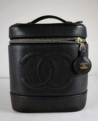 CHANEL Black Caviar Leather Cosmetic Beauty Vanity Case Bag