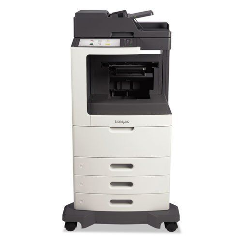 Lexmark MX810dte Multifunction Laser Printer, Copy/Fax/Print/Scan - BMC-LEX 24T7411. Machine Functions : Copy, Fax, Print, Scan; Printer Type : Laser; Maximum Print Speed (Black) : 55 ppm; Network Ready : Yes; Print Resolution (Black) (Width x Height) : 1200 x 1200 dpi; Copying Speed (Black) : 55 ppm; Auto Document Feed/Sheets : 150. Accepts Paper Size : #7 3/4 Envelopes, #9 Envelopes, #10 Envelopes, A4, A5, A6, B5 Envelopes, C5 Envelopes, DL Envelopes, Executive, Folio, JIS-B5, Legal...
