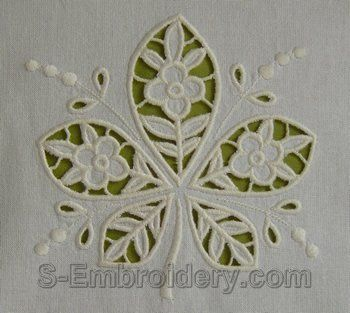 Cutwork embroidery designs - 10559 Chestnut leaf cutwork lace embroidery