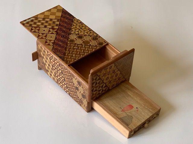 5 Sun 10 Step Yosegi Japanese Puzzle Box With Musical Secret Drawer Puzzle Box Japanese Puzzle Japanese Puzzle Box