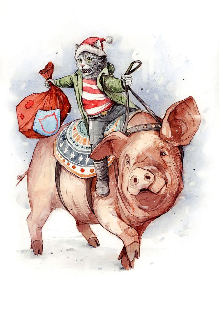 Свинья и крыса открытка