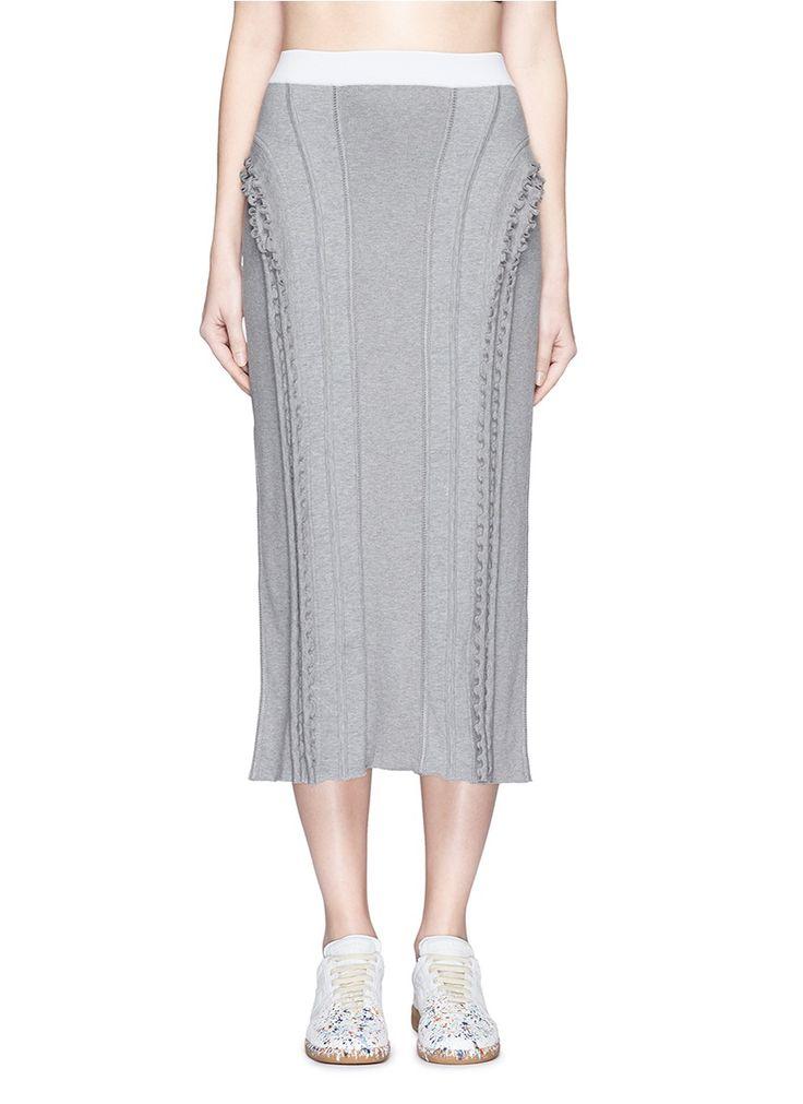 ALEXANDER WANG Frilled Trim Panelled Knit Skirt. #alexanderwang #cloth #skirt
