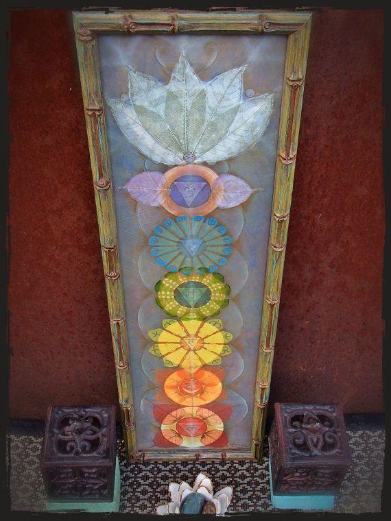 small CHAKRAS painting yoga art reiki energy YOGA PAINTING spiritual painting framed painting Prana art prints Rainbow art paper print