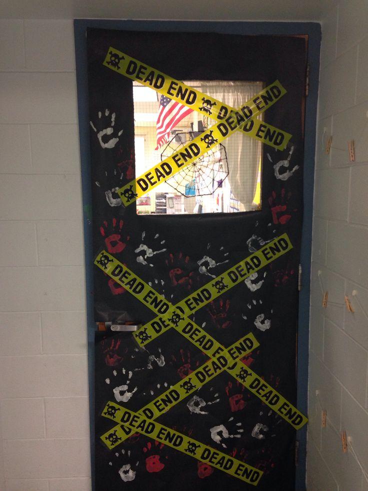 halloween door decorating dead end caution tape zombie door