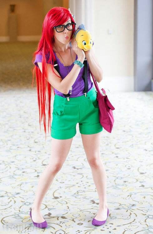 I have that Flounder plush, green shorts, and a purple top. That's what I'm wearing tomorrow!