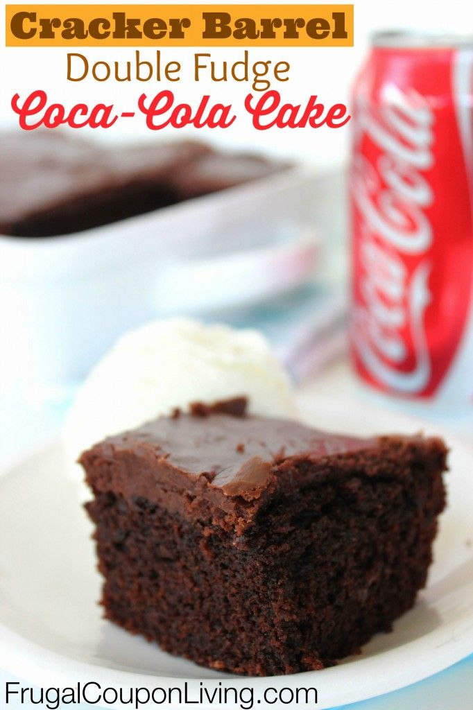 Copycat Cracker Barrel Double Fudge Coca-Cola Cake Recipe - so moist and yummy, this Coke Cake tutorial is on Frugal Coupon Living.